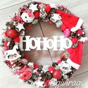 HOHOHO ünnepi-karácsonyi-adventi ajtódísz  kopogtató, RENDELHETŐ, Otthon & Lakás, Karácsony & Mikulás, Karácsonyi dekoráció, Virágkötés, Mindenmás, A klasszikus karácsony jellemzői a piros, a zöld és a fehér, egy kis kockás anyag, és némi játékossá..., Meska