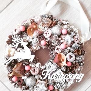 RÉNSZARVAS mályva-ezüst  ünnepi-karácsonyi  kopogtató, ajtódísz, Otthon & Lakás, Karácsony & Mikulás, Karácsonyi dekoráció, Virágkötés, Mindenmás, A glamour asztaldíszekre jellemző a pompa és fényűzés. A meglepetésekhez illik a lila, mályva, ezüst..., Meska