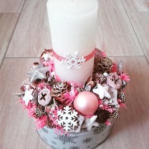 JÉGVIRÁG ünnepi asztaldísz,.dísz koszorú, Karácsonyi dekoráció, Karácsony & Mikulás, Otthon & Lakás, Virágkötés, Mindenmás, A glamour asztaldíszekre jellemző a pompa és fényűzés. A meglepetésekhez illik a lila, mályva, ezüst..., Meska
