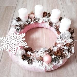 HÓPIHE rózsaszín-fehér karácsonyi asztaldísz, dísz, koszorú, Dekoráció, Otthon & lakás, Ünnepi dekoráció, Karácsonyi, adventi apróságok, Karácsonyi dekoráció, Virágkötés, Mindenmás, A glamour asztaldíszekre jellemző a pompa és fényűzés. A meglepetésekhez illik a lila, mályva, ezüst..., Meska
