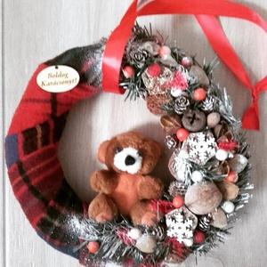 KARÁCSONYI kopogtató, ajtódísz, -KÉSZTERMÉK, Otthon & lakás, Dekoráció, Ünnepi dekoráció, Karácsonyi, adventi apróságok, Karácsonyi dekoráció, Mindenmás, Virágkötés, A skandináv design kedvelőinek, akik szeretik a fehér, a szürke, a barna és a piros színeket, a kis ..., Meska