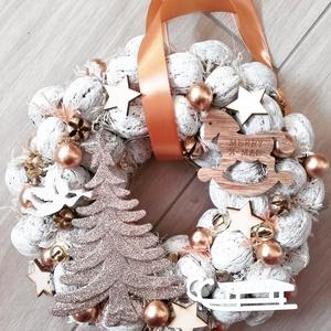 KARÁCSONYFA arany-fehér- karácsonyi Kopogtató, ajtódísz, -KÉSZTERMÉK, Otthon & Lakás, Karácsony & Mikulás, Karácsonyi dekoráció, Mindenmás, Virágkötés, A skandináv design kedvelőinek, akik szeretik a fehér, a szürke, a barna és a piros színeket, a kis ..., Meska
