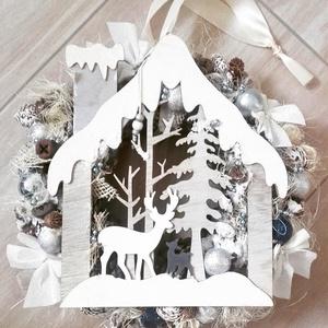 HAVAS TÈLI TÁJ kék-fehér adventi karácsonyi kopogtató KÉSZTERMÉK, Otthon & lakás, Dekoráció, Ünnepi dekoráció, Karácsony, Karácsonyi dekoráció, Virágkötés, Mindenmás, Az igazi tél hófehér. A white koszorúk azoknak készülnek, akik szeretik a hóval borított táj hangula..., Meska