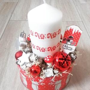 ÜNNEPI ASZTALDÍSZ  karácsonyi-tarka -ünnepi box, koszorú, Otthon & lakás, Dekoráció, Ünnepi dekoráció, Karácsony, Karácsonyi dekoráció, Mindenmás, Virágkötés, A skandináv design kedvelőinek, akik szeretik a fehér, a szürke, a barna és a piros színeket, a kis ..., Meska
