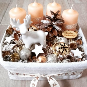 TÉLI TÁJ barack-fehér adventi karácsonyi asztaldísz RENDELHETŐ, Otthon & Lakás, Karácsony & Mikulás, Adventi koszorú, Virágkötés, Mindenmás, Az igazi tél hófehér. A white koszorúk azoknak készülnek, akik szeretik a hóval borított táj hangula..., Meska