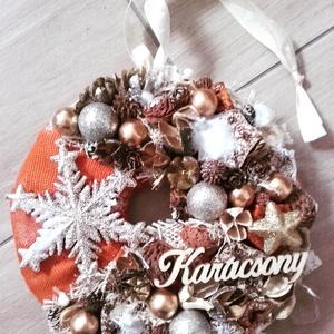 ARANY HÓPIHE arany-fehér- karácsonyi Kopogtató, ajtódísz, -KÉSZTERMÉK, Otthon & Lakás, Csempe, Dekoráció, A skandináv design kedvelőinek, akik szeretik a fehér, a szürke, a barna és a piros színeket, a kis ..., Meska