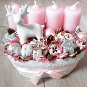 TÈLI ÁLOM advent-karácsonyi asztaldìsz, doboz, box, Otthon & lakás, Dekoráció, Ünnepi dekoráció, Lakberendezés, Asztaldísz, Mindenmás, Virágkötés, Szarvasos fehér-rózsaszín adventi szett.\nNovember utolsó vasárnapja advent első vasárnapja onnantól ..., Meska