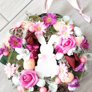 NYUSZIS tavaszi-tarka-virágos kopogtató, ajtódísz-KÉSZTERMÉK, Otthon & Lakás, Dekoráció, Ajtódísz & Kopogtató, Virágkötés, Mindenmás, Beköszöntött lassan a Tavasz.\nNyuszis virágos kopogtatót készítettem sok virággal és terméssel.\nA ta..., Meska