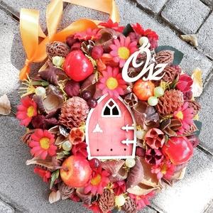 ERDEI FAHÁZ őszi-tarka-terméses dísz, kopogtató, ajtódísz, Ajtódísz & Kopogtató, Dekoráció, Otthon & Lakás, Virágkötés, Karton alapra készült őszi stíusú kopogtató\nA fagyok beálltáig díszítheti otthonod, de ajándéknak is..., Meska