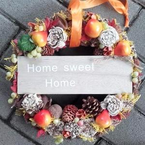 HOME őszi-tarka-terméses dísz, kopogtató, ajtódísz, Otthon & Lakás, Ajtódísz & Kopogtató, Dekoráció, Virágkötés, Meska