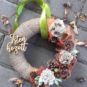 ISTEN HOZOTT  őszi-termés kopogtató, ajtódísz,.koszorú, Otthon & Lakás, Dekoráció, Ajtódísz & Kopogtató, Virágkötés, Ha szereted a föld színeket, a barnát, a sárgat, narancsot és a nyers színt,  akkor ez a kopogtató n..., Meska