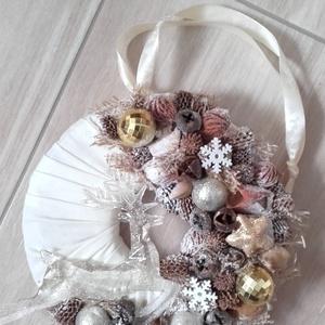 RÉNSZARVAS  ünnepi-termés kopogtató, ajtódísz KÉSZTERMÉK, Otthon & Lakás, Karácsony & Mikulás, Adventi koszorú, Virágkötés, Mindenmás, Az igazi tél hófehér. A white koszorúk azoknak készülnek, akik szeretik a hóval borított táj hangula..., Meska