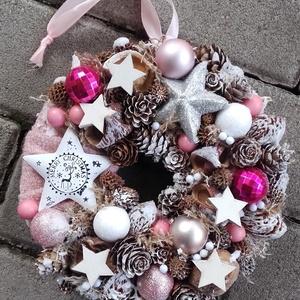 JEGES CSILLAG ünnepi-karácsonyi koszorú, ajtódísz, kopogtató, Otthon & Lakás, Karácsony & Mikulás, Karácsonyi dekoráció, Virágkötés, Mindenmás, A glamour asztaldíszekre jellemző a pompa és fényűzés. A meglepetésekhez illik a lila, mályva, ezüst..., Meska