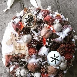 RÉNI ünnepi-karácsonyi termés kopogtató, ajtódísz KÉSZTERMÉK, Otthon & Lakás, Karácsony & Mikulás, Adventi koszorú, Virágkötés, Mindenmás, Az igazi tél hófehér. A white koszorúk azoknak készülnek, akik szeretik a hóval borított táj hangula..., Meska