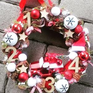 ADVENT VASÁRNAPOK karácsonyi-adventi  kopogtató, ajtódísz, -KÉSZTERMÉK, Otthon & Lakás, Karácsony & Mikulás, Karácsonyi dekoráció, Mindenmás, Virágkötés, A skandináv design kedvelőinek, akik szeretik a fehér, a szürke, a barna és a piros színeket, a kis ..., Meska