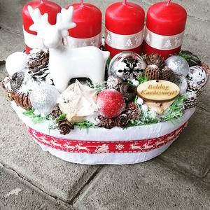 KARÁCSONYI MESE ünnepi-karácsonyi-adventi koszorú,.dísz, Karácsony & Mikulás, Karácsonyi dekoráció, A klasszikus karácsony jellemzői a piros, a zöld és a fehér, egy kis kockás anyag, és némi játékossá..., Meska