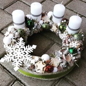 HAVAS TÉLI TÁJ  adventi- fehér-ünnepi-termés BOX, KOSZORÚ, Karácsony & Mikulás, Adventi koszorú, Az igazi tél hófehér. A white koszorúk azoknak készülnek, akik szeretik a hóval borított táj hangula..., Meska