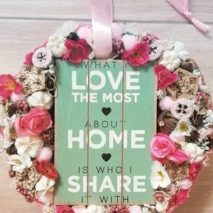 TAVASZI TÁBLÁS virágos-tavaszi termés kopogtató, ajtódísz RENDELHETŐ, Otthon & Lakás, Dekoráció, Ajtódísz & Kopogtató, Virágkötés, Mindenmás, Meska