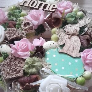 Tavaszi nyuszis-zöld-virágos-rózsaszín ajtódísz-kopogtató, Otthon & Lakás, Dekoráció, Könyvszobor, Mindenmás, Virágkötés, Egyedi ajtó vagy fali dísz tavaszi nyuszis stílusban készült.\nmérete:21cm, Meska