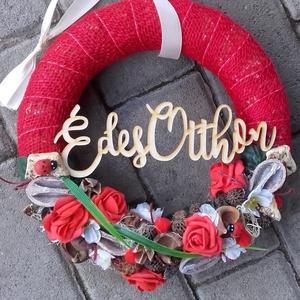 KATICÁK OTTHONA piros-vidám-tarka kopogtató, ajtódísz, falidísz, Otthon & Lakás, Dekoráció, Ajtódísz & Kopogtató, Virágkötés, Mindenmás, Meska