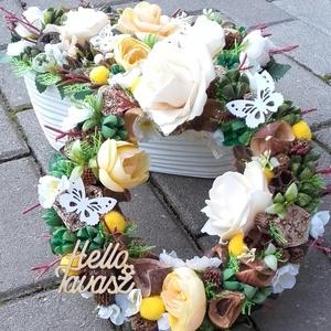 TAVASZI VIRÁGOS SZETT tavaszi-virágos-színes asztaldísz, kopogtató, dekoráció NÉVNAPRA ÉS SZÜLINAPRA, Otthon & Lakás, Dekoráció, Asztaldísz, Virágkötés, Meska
