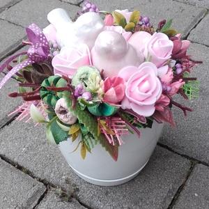 MADÁRPÁR tavaszi-virágos-színes asztaldísz, dísz, dekoráció NÉVNAPRA ÉS SZÜLINAPRA, Otthon & Lakás, Dekoráció, Asztaldísz, Virágkötés, Meska