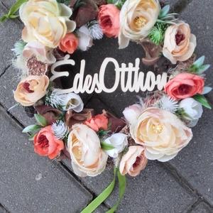 ÉDES OTTHON tarka-vidám-virágos KOPOGTATÓ, AJTÓD�SZ,.FALIDÍSZ, Otthon & Lakás, Dekoráció, Ajtódísz & Kopogtató, Mindenmás, Virágkötés, Meska