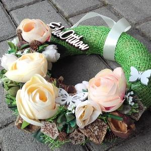 ÉDES OTTHON tavaszi vidám- virágos tavaszi kopogtató, ajtódísz, falidísz - otthon & lakás - dekoráció - ajtódísz & kopogtató - Meska.hu