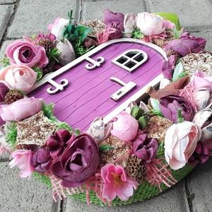 TÜNDÉRLAK tavaszi-virágos tündérajtós  kopogtató, ajtódísz dísz - otthon & lakás - dekoráció - ajtódísz & kopogtató - Meska.hu
