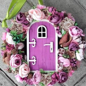 TÜNDÉRLAK tavaszi-virágos tündérajtós  kopogtató, ajtódísz dísz, Otthon & Lakás, Dekoráció, Ajtódísz & Kopogtató, Mindenmás, Virágkötés, Meska