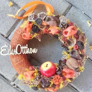 ÉDES OTTHON ŐSSZEL őszi-termés kopogtató, ajtódísz RENDELHETŐ, Otthon & Lakás, Dekoráció, Ajtódísz & Kopogtató, Virágkötés, Mindenmás, Meska
