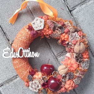 ÉDES OTTHON őszi-tarka-vidám-színes  AJTÓDÍSZ, KOPOGTATÓ, FALIDÍSZ, Otthon & Lakás, Dekoráció, Ajtódísz & Kopogtató, Virágkötés, Meska