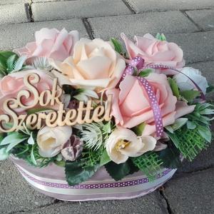 Virágos tavaszi-habrózsás asztaldísz, dísz, ANYÁK NAPJA, SZÜLINAP, N�VNAP, Otthon & Lakás, Dekoráció, Asztaldísz, Virágkötés, Meska