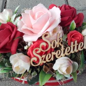 ÖRÖK VIRÁGDOBOZ virágbox, virágos asztaldísz NÉVNAPRA ÉS SZÜLINAPRA, Otthon & Lakás, Dekoráció, Asztaldísz, Virágkötés, Meska
