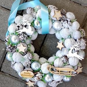 J�GVARÁZS fehér-k�k-ezüst  karácsonyi kopogtató,karácsonyi koszorú, ajtódísz, dekoráció KÉSZTERMÉK, Karácsony, Karácsonyi lakásdekoráció, Karácsonyi ajtódíszek, Mindenmás, Virágkötés, Meska