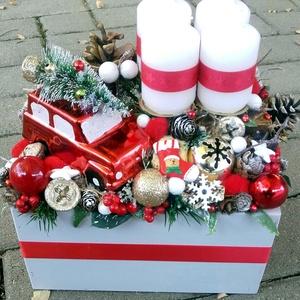 CLASSIC CHRISTMAS autós-karácsonyi asztald�sz,  adventi asztaldísz, koszorú, doboz, box karácsonyi dekoráció  - Meska.hu