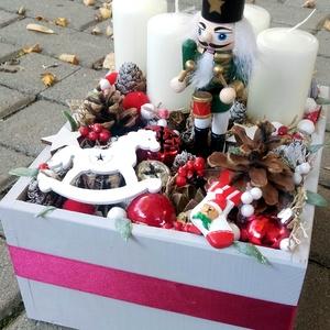 DIÓTÖRŐ Karácsonyi asztald�sz,  adventi asztaldísz, koszorú, doboz, box karácsonyi dekoráció , Karácsony, Karácsonyi lakásdekoráció, Karácsonyi ajtódíszek, Virágkötés, Mindenmás, Meska