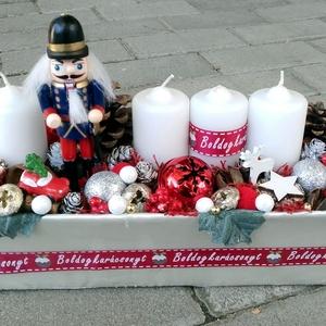 DIÓTÖRŐ Karácsonyi asztald�sz,  adventi asztaldísz, koszorú, doboz, box karácsonyi dekoráció  - Meska.hu