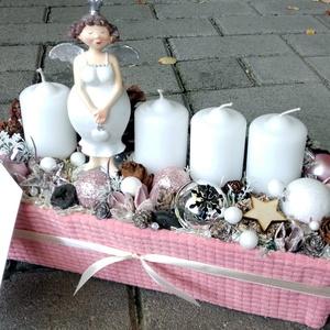NŐCIS ANGYALI BOX, adventi asztaldísz, koszorú, karácsonyi box, doboz,.dekoráció, ajándék - Meska.hu
