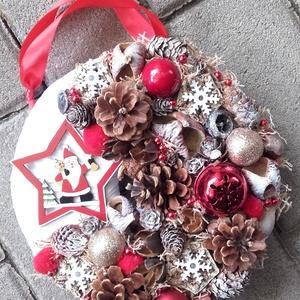 MIKULÁS  karácsonyi ajtódísz, adventi kopogtató, karácsonyi dekoráció  - Meska.hu