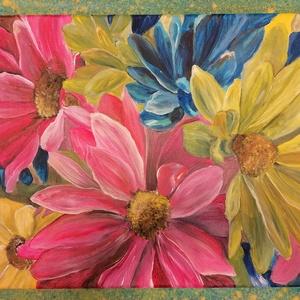 Sziromkavalkád akril festmény, Otthon & Lakás, Lakberendezés, Pannoncolor feszített vászonra készített, gondosan kidolgozott akrilfestmény különleges színekkel és..., Meska