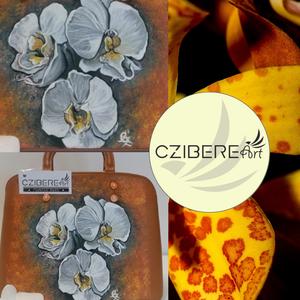 """""""Virágzás"""" orchideás táska, Táska & Tok, Kézitáska & válltáska, Kézitáska, A barna táskán erőteljes kontrasztot ad az orchidea fehérsége. A háttér igazán különleges, mély, söt..., Meska"""