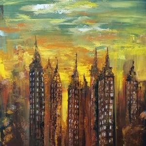 Nagyvárosi látkép, Otthon & Lakás, Lakberendezés, Feszített vászonra készült akril festmény, mérete 60×80 cm.  Kitűnően mutat nappaliban, közösségi te..., Meska