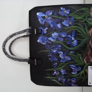 """""""Nyárkezdet"""" kézzel festett táska, Táska & Tok, Kézitáska & válltáska, Kézitáska, Amikor az íriszek virágba borulnak, biztosak lehetünk benne, hogy közeleg a nyár, a megújulás, a ter..., Meska"""