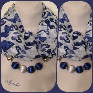 Ékszersál - kék pillangós hosszú, gyöngyös - Meska.hu