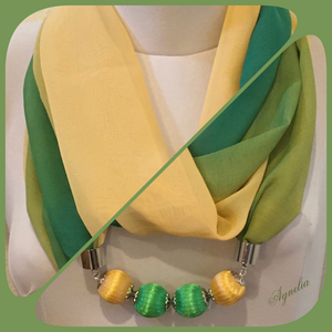 Ékszersál - zöld-sárga színátmenetes, hosszú, gyöngyös - Meska.hu