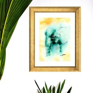 Elefánt - aquarell festmény - nyomat, Otthon & lakás, Dekoráció, Képzőművészet, Festmény, Illusztráció, Festészet, A művészi nyomat 180-200g-os művész papírra készül.\nA festmény eredetije kézzel készített, handmade ..., Meska
