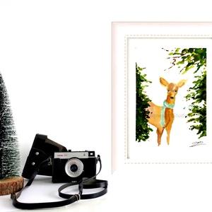Őzike - aquarell festmény - nyomat, Otthon & lakás, Dekoráció, Képzőművészet, Festmény, Akvarell, Fotó, grafika, rajz, illusztráció, Festészet, A művészi nyomat 180-200g-os művész papírra készül.\nA festmény eredetije kézzel készített, handmade ..., Meska
