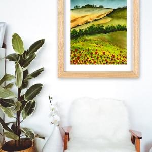 Toscana 2. - aquarell festmény - nyomat, Otthon & lakás, Képzőművészet, Festmény, Illusztráció, Napi festmény, kép, Festészet, Fotó, grafika, rajz, illusztráció, A művészi nyomat 180-200g-os művész papírra készül.\nA festmény eredetije kézzel készített, handmade ..., Meska