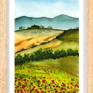 Toscana 2. - aquarell festmény - nyomat (AgnesArtStudio) - Meska.hu